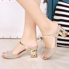 New Metal Square Heel Sandals Heel Shoes Women Gold Sliver Peep Toe Party  Sandals shoes Ladies gold gold 39
