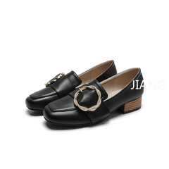 2019 Women's Shoes Fashion Metal Buckle Shoes Ladies PU Pumps Lady Loafers slippers plus size 35- 44 black 43