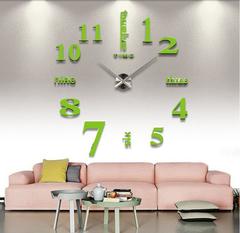 Large 3D DIY Mirror Clock Wall Sticker Silent Quartz watch  Number Clock,Office Living Room Decor green one size