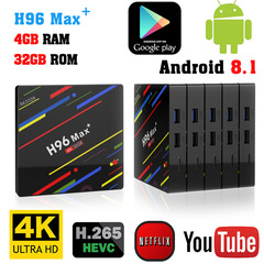 H96 Max+ Max Plus Android 8.1 TV Box RK3328 Quad Core 4GB+32GB  2.4G Wifi USB3.0  4K HD Set top Box
