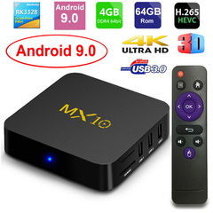 MX10 Smart TV BOX Android 9.0 RK3328 4G 64G IPTV Set top Box 4K USB 3.0 HDR H.265 WIFI Media Player