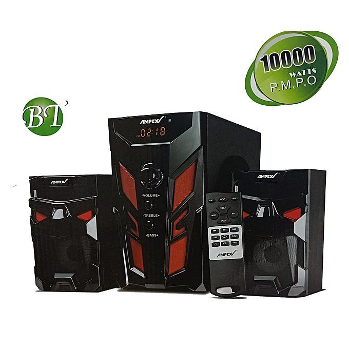 AMPEX SOUND /SPEAKER SYSTEM, BT/USB/SD/FM DIGITAL RADIO black 10000w p.m.p.o 2.1 channel woofer