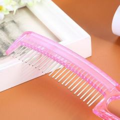 New Style Hair Comb Plastic Handle and Stainless Steel  Comb pink one size