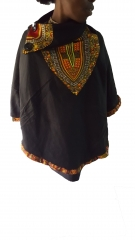 Ankara ponchos black one size
