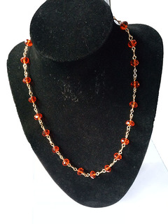 Metallic necklace red one size