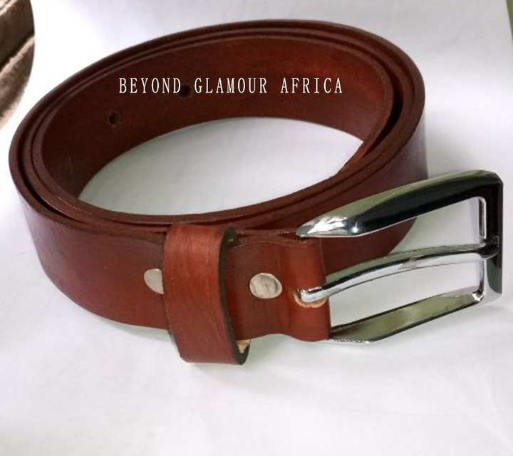 Leather belt brown one size