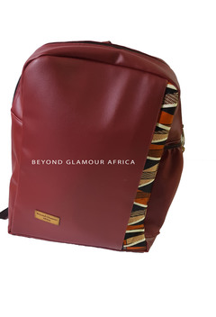 Leather Backpack + belt combo maroon one size