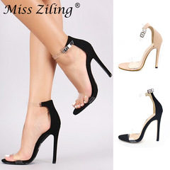 Slip-on slip-on sandals for women are a size 43 with high heels for fashion shows black 36