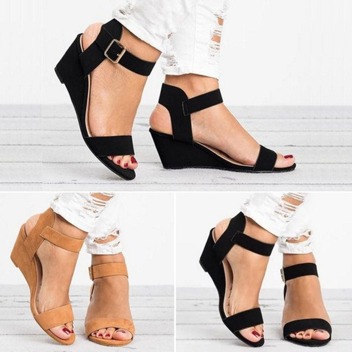 Shoes shoes women shoes heels Wedges heel sandal fish mouth large size spot shoes for women fashion black 34