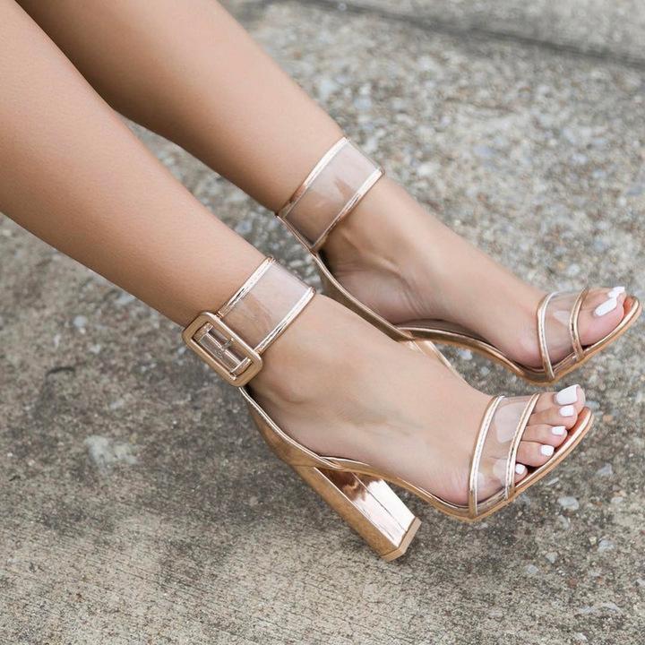 High heel buckle large size women's shoes export women's shoes fashion black 42