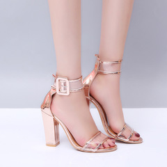 High heel buckle large size women's shoes export women's shoes fashion golden 43