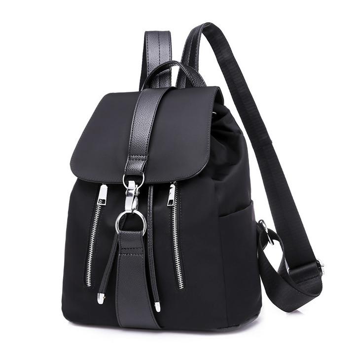 Stylish backpacking bag ladies handbag flat bag anti-theft bag black bag black 1