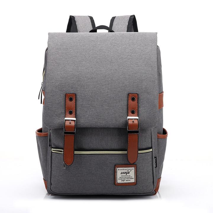Fashion Men  Canvas Backpacks for Laptop Large Capacity Computer Bag Casual School Bagpacks black gray 1