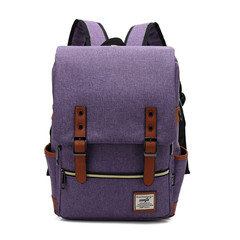 Fashion Men  Canvas Backpacks for Laptop Large Capacity Computer Bag Casual School Bagpacks black purple 1
