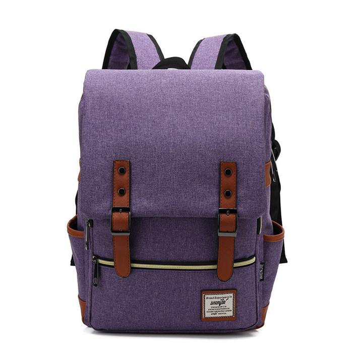 Fashion Men  Canvas Backpacks for Laptop Large Capacity Computer Bag Casual School Bagpacks black purple 1