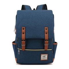 Fashion Men  Canvas Backpacks for Laptop Large Capacity Computer Bag Casual School Bagpacks black Dark blue 1