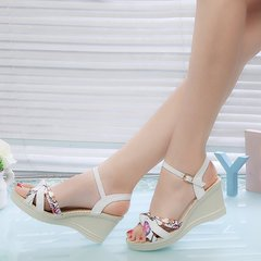 Large size muffin heel, high heel, wedge heel, printed student shoes, sandals and women's shoes white 36
