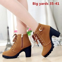 shoes shoes heels shoes women High heels, women's boots, ankle boots, round toes, Martin boots red 36