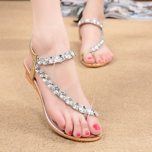 3796195db shoes sandals female flat bottom rhinestone toe beach shoes Bohemian wedge  with women s shoes golden silver