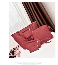 Bags Women's Handbag Luxury 4 Pcs/Set Handbag+Shoulder Bag+ Cellphone Bag +Card Bag Classic black red uniform size