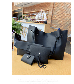 Bags bags women bags ladies bags for women bags for ladies bags and fashion Four-piece female bagset black uniform size