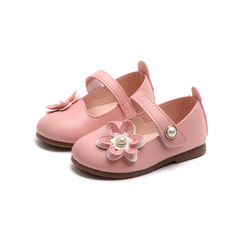 Girls'Single Shoes, Baby Shoes, Soft Bottoms, Flowers, Princess Shoes, Little Girls' Leather Shoes pink 15