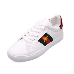 Bee embroidered white shoes with flat bottom shoes ladies sneakers Red heel 37