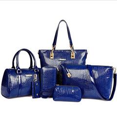 Fashion New Six-piece Crocodile Grained Bag Madam Handbag Customized Fashion Bag blue uniform size