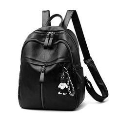 Package backpack Women's handbags Wild fashion bag large capacity casual backpack soft leather Black average size