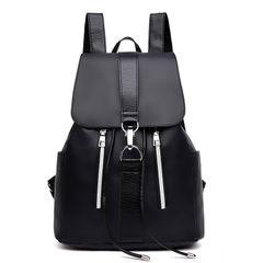 Fashion Backpack Lady's Handbag Flat Bottom Anti-theft Bag Black Bag Black Black average size