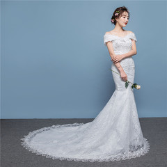 Wedding Dresses Lace Appliques Ball Gown white Bridal fishtail Wedding dress s white