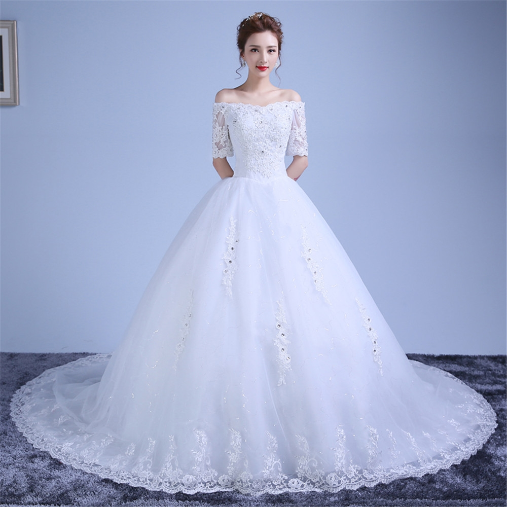 c4a1036991 Xingyue Wedding Dresses Lace Appliques Ball Gown white Bridal tail ...
