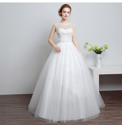 Women's round neck lace wedding dresses wedding gown s white---HS632