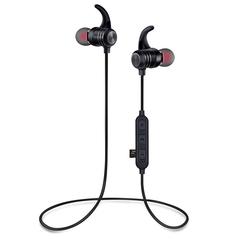 Magnetic Earphones Bluetooth Wireless Headphones MIC for Sports Music Neckband Headset  for Phones black