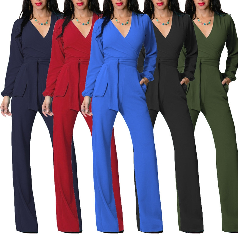 to buy variety design hot-selling Jumpsuits Slim Sashes V-neck Long Sleeve Rompers Women Elegant Pants  Streetwear One Piece Overalls black s