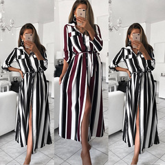 Women Striped Shirt Dress Ladies Casual Long Sleeve Loose Beach Dresses Turn-Down Collar Print Dress xl red