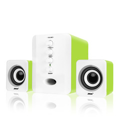D-202 Portable USB Wired Combination Speaker Computer Bass Stereo Speaker Music Player Subwoofer green as shown