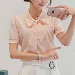Spring Summer Chiffon Blouse Women Short Sleeve Shirts Leisure Chiffon Shirt Bow Office Ladies Tops pink L
