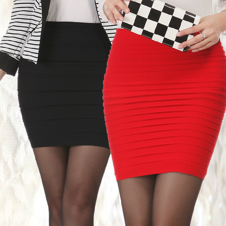 Spring Summer Skirts Womens High Waist Pleated Skirt Sexy Pencil Slim Package Hip Short Mini Skirt White One Size