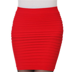 Spring Summer Skirts Womens High Waist Pleated Skirt Sexy Pencil Slim Package Hip Short Mini Skirt Red One Size