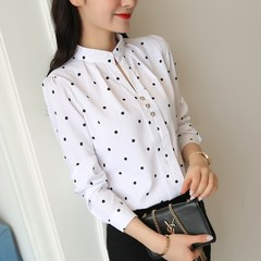 Summer Women Chiffon Blouses Polka Dot Shirts Long Sleeve Slim Blouses Office Lady Shirt Female Tops white l