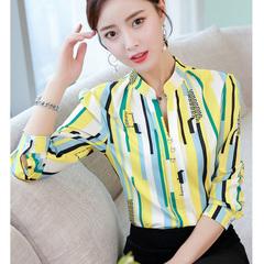 Women Blouses Summer Chiffon Blouse Shirts Long Sleeve V Neck Shirt Office Lady Tops Work Shirt Top yellow l