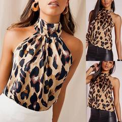 Sexy Leopard T-Shirts Blouses Summer Women Top Sleeveless Halter Vest Female Tshirt Clothing Tees leopard l