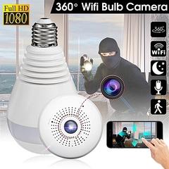 UNIVERSAL 360degree Panoramic 1080P Hidden IR Camera Light Bulb Wifi FishEye CCTV Security - White