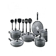 Nonstick cooking pot 17pcs all in one box. black normal