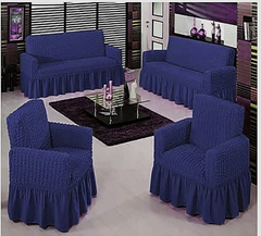 Stretchable Sofa Seat Covers seven seater- 3+2+1+1 (7 seater) navy blue 7 seater