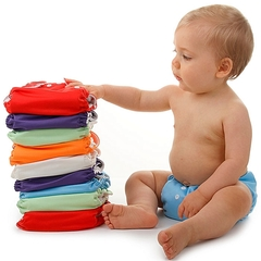 3 pieces  Washable Reusable Adjustable Baby Diaper with 3 Inserts multioclor 3  pieces