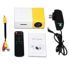 Portable mini projector LED micro projector home party meeting theater projector White & Yellow