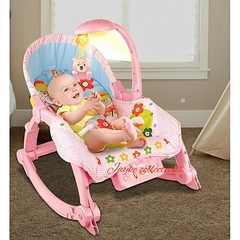2 IN 1 Toddler Portable Rocker Dining Table Newborn to Toddler Pink normal