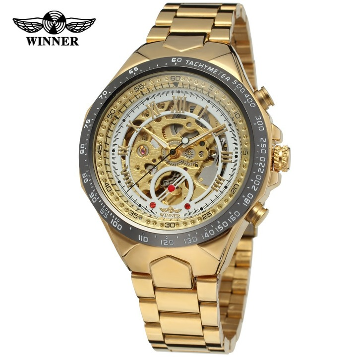 winners men's Automatic Hollow Engraving Stainless Watch all steel hollow automatic mechanical watch Gold black + white 25Cm